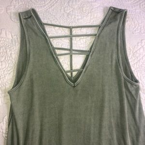 American Eagle Soft and Sexy cage tank in green